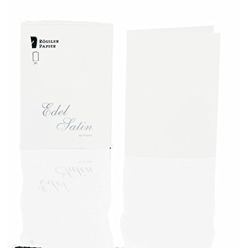 Edel Satin - Cards pack 20/A6 fold. portrait, smooth, white (White Satin Portrait)