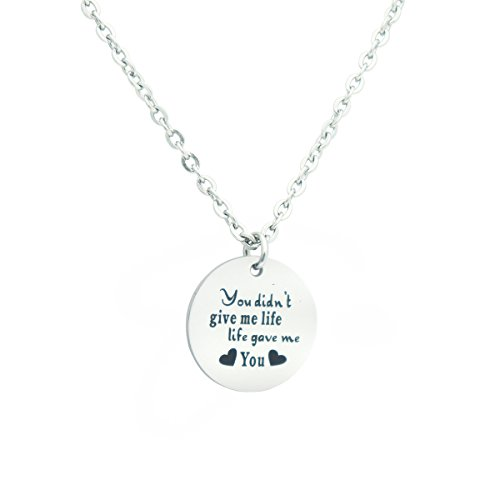 Eilygen Stepmom Wedding Gift Thank you for Loving me as Your Own Disc Pendant Necklace Mother's Day Gift for Stepmother (You Didn't Give Me Life Life Gave Me You) by Eilygen