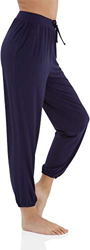 WiWi Bamboo Stretch Cozy Drawstring Lounge Jogger Pajama Pants with Pockets for Women S-XXXXL(4XL), Navy, Large ()