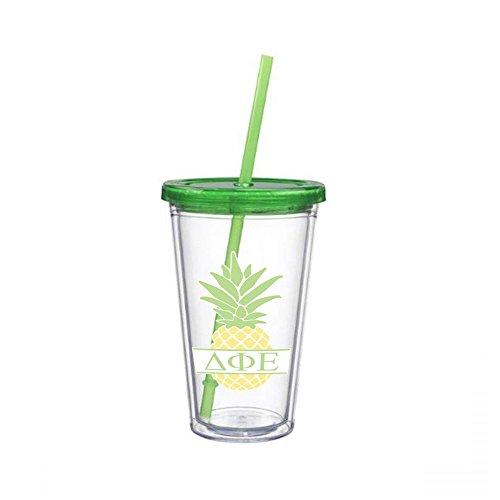 (Delta Phi Epsilon Letter Pineapple Sticker on plastic Tumbler Greek Sorority Decal 16 oz. BPA Free)