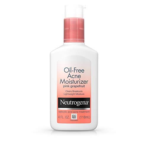 Neutrogena Oil Free Acne Facial Moisturizer with Salicylic Acid Acne Treatment Medicine, Pink Grapefruit Acne Fighting Face Lotion with Salicylic Acid to Treat Breakouts, Non Comedogenic, 4 fl. Oz