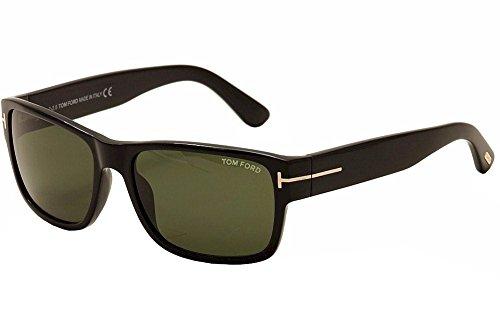 TOM FORD Men's Mason TF445 01N Shiny Black Green Rectangular Sunglasses 58mm
