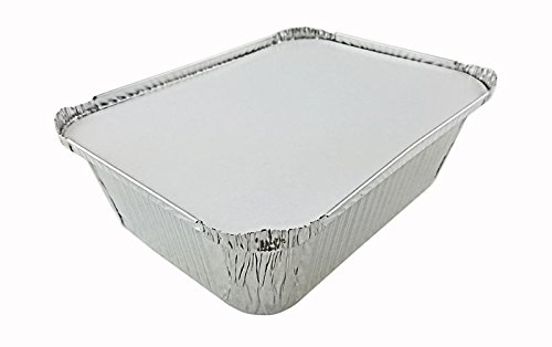 Handi-Foil 5 lb. Oblong Aluminum Entrée Dinner Food Storage Pan w/Board Lid (pack of 250) by Handi-Foil