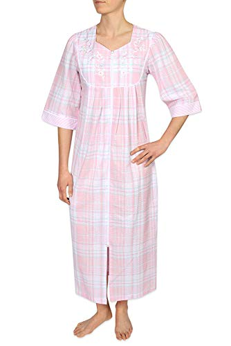 Misses Seersucker - Miss Elaine Plus Size Women's Long Seersucker Zipper Robe - with ¾ Sleeves, a Round Yolk, and Two Inset Pockets