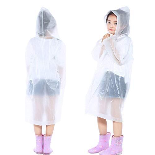 IronBuddy Kids Raincoat Portable Reusable Hooded Rain Poncho Rainwear for Boys Girls (Pack of 2, - Poncho Kid Girls