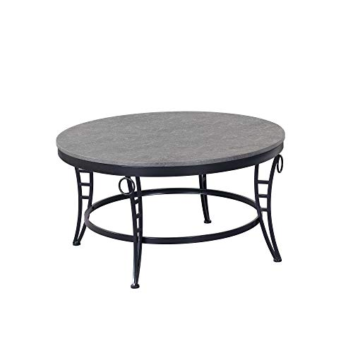 Armant Round Coffee Table in Cinder Gray with Round Table Top And Metal Legs, by Artum Hill