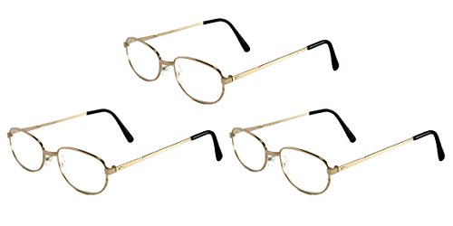 (Mr. Reading Glasses {+1.00 to +4.00} Wholesale Lot of 3 Pairs Assorted Unisex Design Metal Frame Readers for Men and Women - Variety of Black, Silver, and Gold - +2.75 Gold)