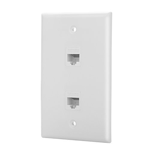 - IBL-2 Port Cat6 Wall Plate, Ethernet Punch Down Keystone Jack, White