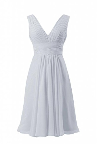 57 W Dress silver Bridesmaid Party Chiffon Dress V Neck DaisyFormals Deep BM1422A Chic Short p17wqxw4F