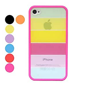 Rainbow Design Back Case for iPhone 4/4S(Assorted Color) --- COLOR:Blue