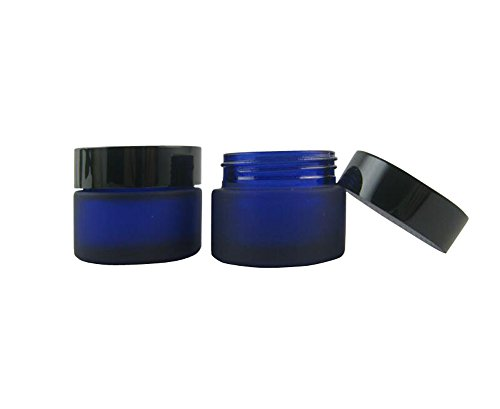 2PCS 30ml/30G Glass Face Cream Bottles with PP Liner-Empty Jars Small Round Containers Cosmetic Make up Lip Balm Lotion Pot Storage Case With Black Screw Cover (Blue)