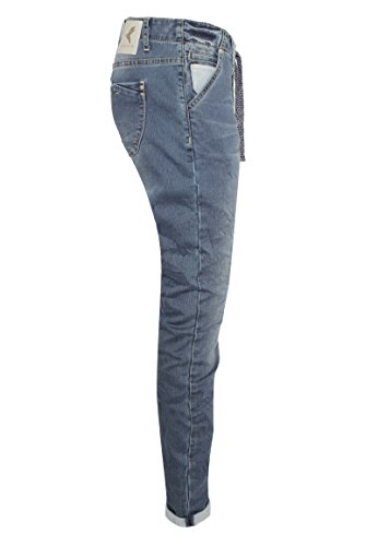 Eight2Nine Jogg Jeans pour Dames Style Boyfriend | Jean Sportif  cordelette Bleu Moyen
