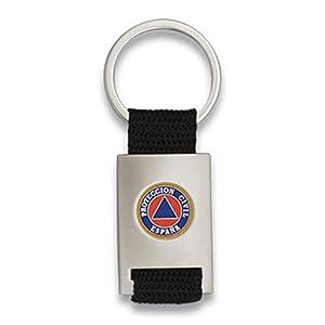 Tiendas LGP Albainox- Llavero Proteccion Civil- Lona Negra y Acero Plateado Mate 12