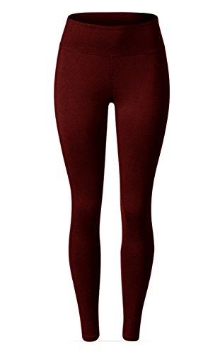 SATINA High Waisted Leggings – 22 Colors – Super Soft Full Length Opaque Slim (Plus Size, Burgundy) by Sejora (Image #3)