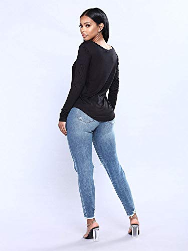 Agua Apretados DAMENGXIANG Las Nuevos Elásticos De Mujeres Agujeros Blue Jeans PInwnqxvA