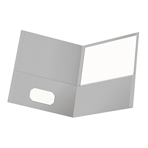 Esselte Presentation Folders - Oxford Twin-Pocket Folders, Textured Paper, Letter Size, Gray, Holds 100 Sheets, Box of 25 (57505EE)