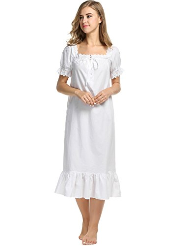 Avidlove Womens Cotton Victorian Vintage Short Sleeve White Classic Nightgown Sleepwear,White2,X-Small