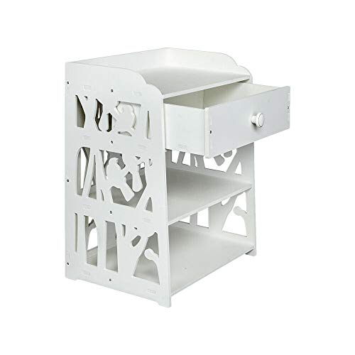 (3-Layers White Carved Stylish Nightstand with 2 Open Studio Chest Storage Decor Top Shelf Bedside End Table for Bedroom Restroom Entryway)