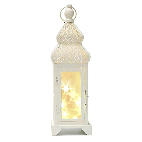Memoryee 14'' Tall White Gold Brushed Metal Lantern with 10 Led String Lights - with Star Reflection for Indoor Outdoor Use by Memoryee