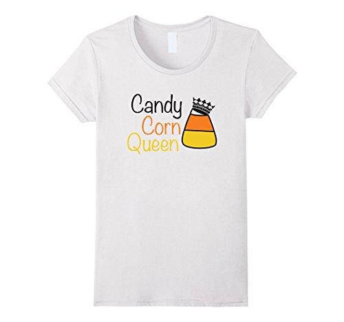 Womens Candy Corn Queen Girls and Women Halloween T-Shirt Small White (Child Candy Corn)