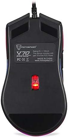 Accessoires pour Ordinateur Filaire Souris Souris de Jeu MOTOSPEED V70 RGB 12000dpi avec 7 clés PMW3360 Engine 250IPS avec rétroéclairage