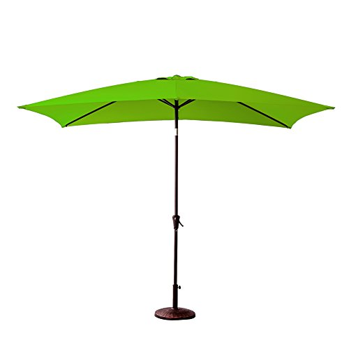 FLAME&SHADE Patio Outdoor Market Umbrella 6'6 x 10′ Rectangle with Crank Lift, Push Button Tilt, Apple Green For Sale