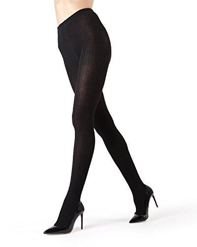 MeMoi Boston Ribbed Sweater Tights | Womens Winter Hosiery - Pantyhose Black MO 327 Large/XLarge (Cable Womens Tights)