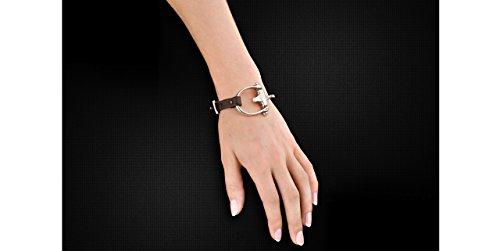 N°3 Bracelet El Estribo Real cuir, plaquage en argent