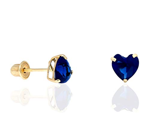 - 14K Yellow Gold Birthstone Heart Screw Back Stud Earrings 5mm