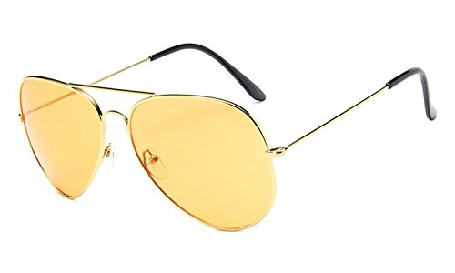 Chezi Unisex Gold Wire Frame Tinted Lens Aviator Sunglasses (gold, yellow)