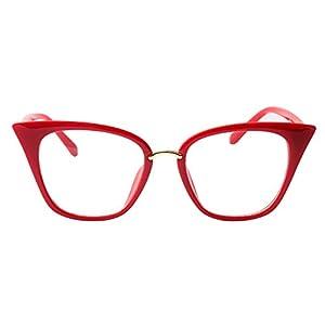 SOOLALA Womens Quality Readers Stylish Oversized Cat Eye Custom Reading Glasses, Red, 2.0x