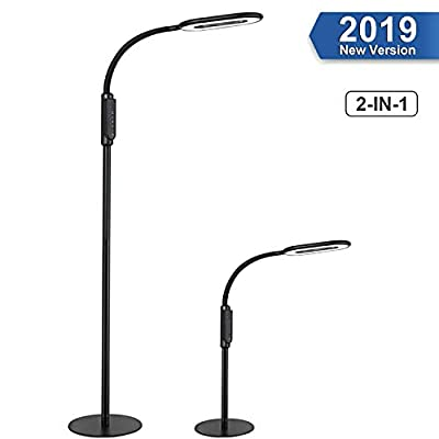 LED Floor Lamp, AGM Dimmable Reading Lamp for Living Room Bedroom, Standing Desk Lamp 2 in 1, Flexible Gooseneck, Touch Control Panel, 16W