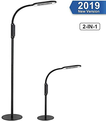 Floor Lamp, AGM Dimmable LED Floor Light Lamps for Living Room Bedroom, Standing Desk Lamp 2 in 1, Office Work Living Room Reading Flexible Gooseneck Light with Touch Control, 16W