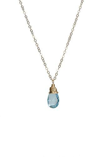 (Swiss Blue Topaz Teardrop Pendant Necklace Gold - 17-18