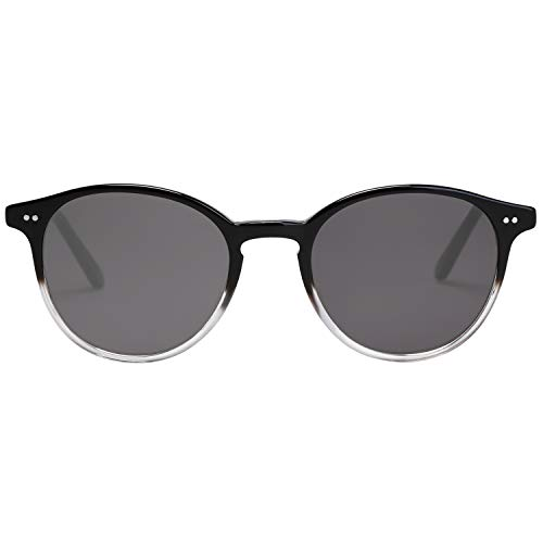 MAREINE Vintage Round Sunglasses Grey Lens/Black+Transparent Frame - Amazon ()