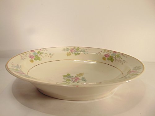 "Theodore Haviland of New York Fine Bone China 10"" Oval Serving Bowl, Pastel Roses Pattern"