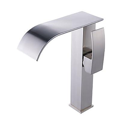 Beati Faucet Modern Widespread Waterfall Spout Bathroom Vessel Sink Tall Faucet, Brushed Nickel