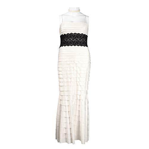 JS Collections Spaghetti Strap Lace Waist Shutter Pleat Satin Dress, Ivory, 14
