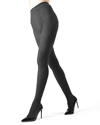 Memoi Toronto Cable Sweater Tights | Women's Hosiery - Pantyhose Dark Grey Heather MO 361 ()