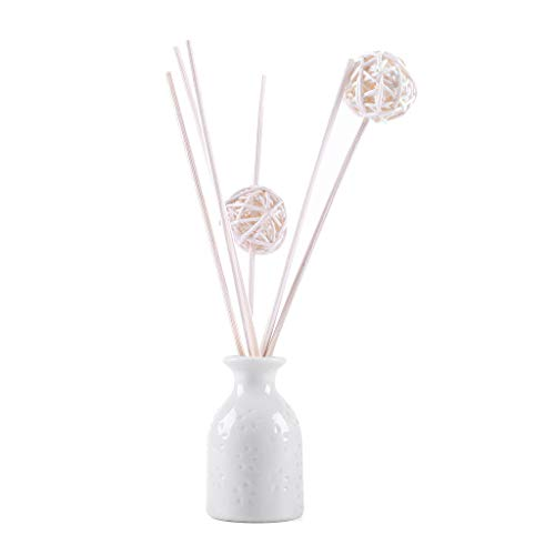 Orcbee  _Reed Oil Diffusers with Natural Sticks Ceramic Bottle and Scented Oil 30ML (H)