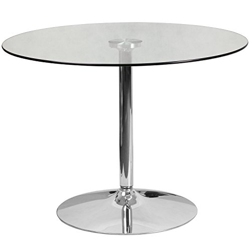 Flash Furniture 39.25'' Round Glass Table with 29''H Chrome Base ()