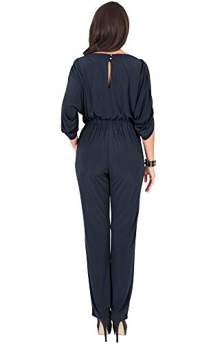 441cb27aeec6 ... KOH KOH Womens Short Sleeve Sexy Formal Cocktail Casual Cute Long Pants  One Piece Fall Pockets ...