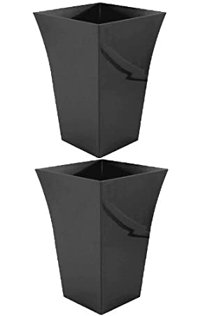 2 X Large Tall Black Planter Plant Pot Plastic Flared Tall Planter
