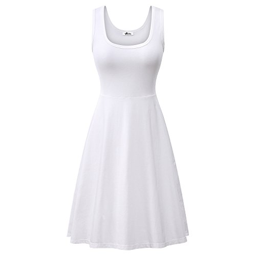 Herou Women Summer Beach Casual Flared Midi Tank Dress X-Large White