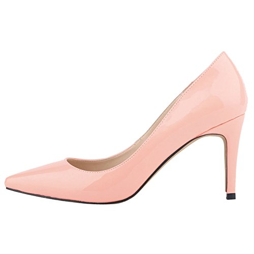 OCHENTA Women's Sexy PU Leather Pointed Toe Stiletto Pumps Thin Shoes Pink oSV2f8Nk