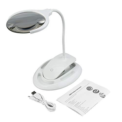 6 luces LED de escritorio Lupa de mesa con clip con base Lupa ...