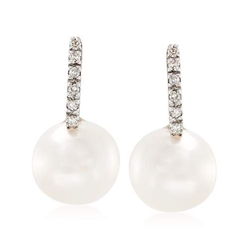 Ross-Simons 8mm Cultured Pearl Earrings With Diamond Accents in 14kt White Gold by Ross-Simons (Image #6)