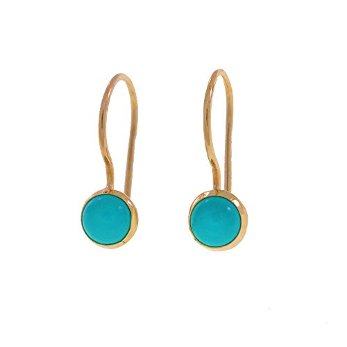 Turquoise Small Drop Girls Earrings Hanmade 14K Solid Yellow Gold 14k Yellow Gold Turquoise Ring