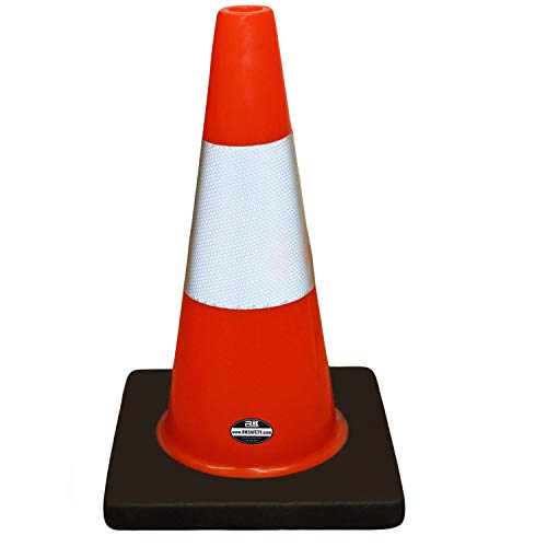 (Set of 6) RK Safety 18' Orange Traffic PVC Cones with 6' Reflective Collar, Black Base