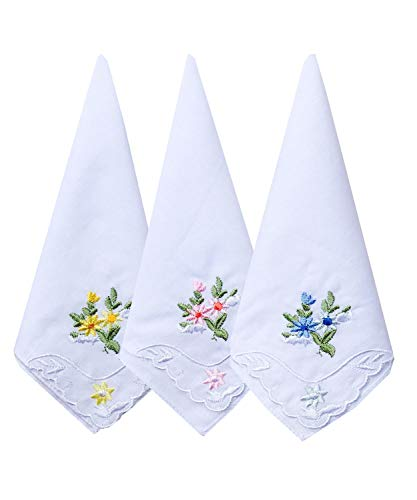 La closure Ladies/Women's Cotton Handkerchief Embroidered Flower with Lace Border